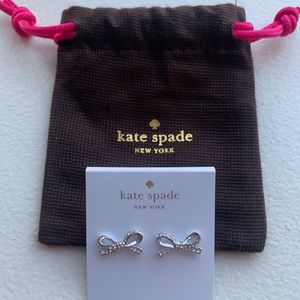 New, never worn, Kate Spade Mini Pave Bow Earrings